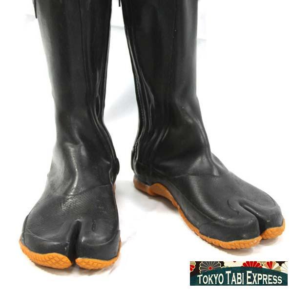 Black Long Zipper Tabi Ninja Boots Shoes Full Water